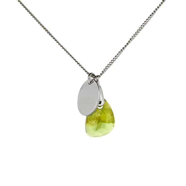 Silver and Peridot Birthstone Necklace