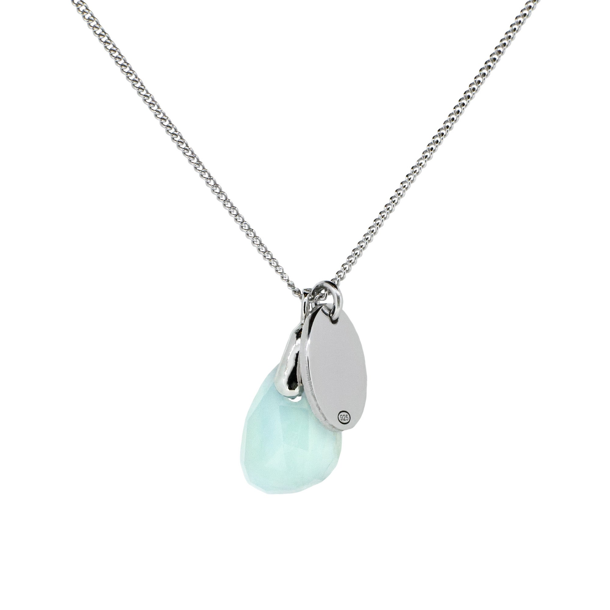 Silver and Aquamarine Birthstone Necklace