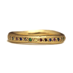 Sand Cast 18ct Yellow Gold Rainbow Ring