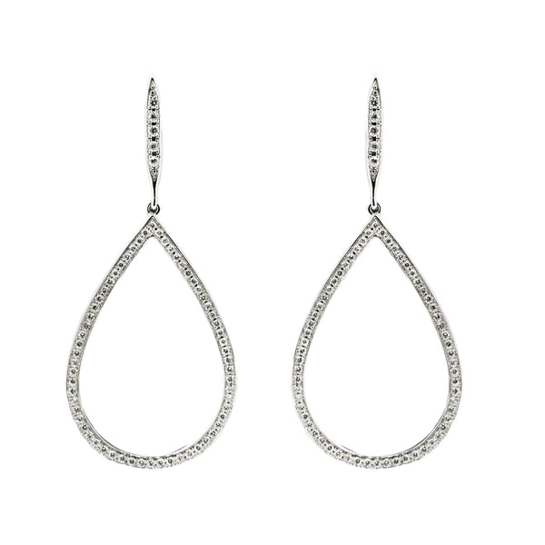 White Gold and Diamond Pear Shaped Earrings