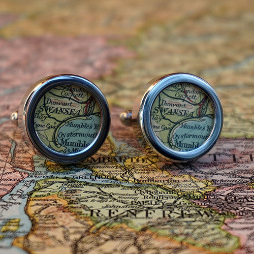 Handmade Vintage Map Cufflinks - Any Location