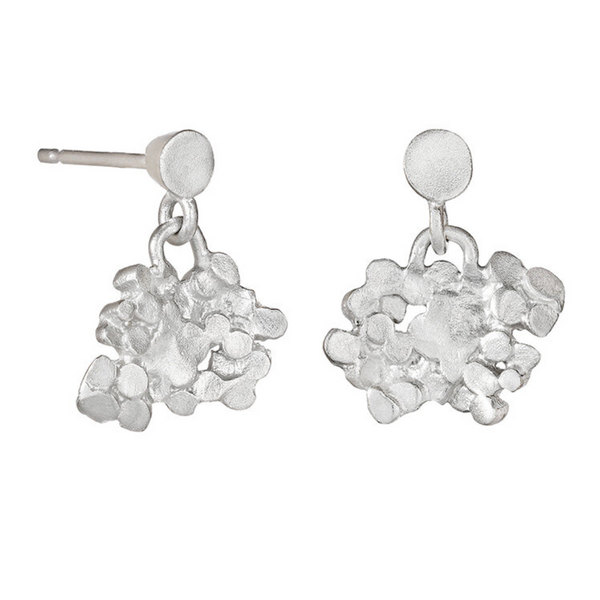 Silver Crown Drop Earrings