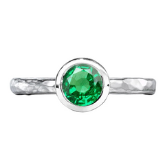 Silver and Green Garnet Ring