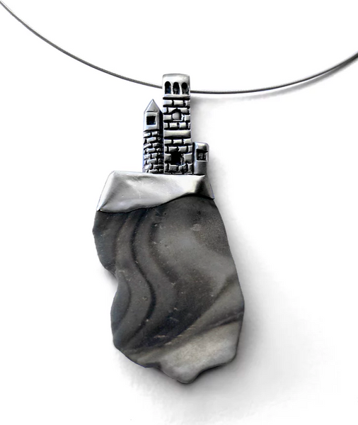 Silver and Flint Pendant