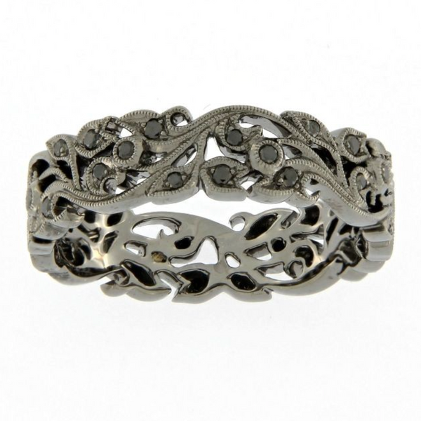 18ct White Gold Floral Band with Black Rhodium Plating & Black Diamonds