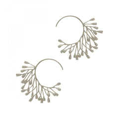 Fanned Seed Pod Hoop Earrings in Silver