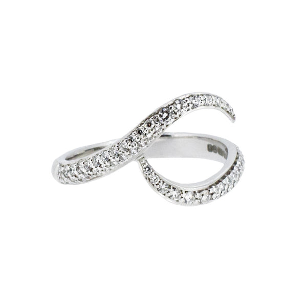 18ct White Gold and Pave Diamond Wave Ring