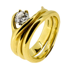 18ct Yellow Gold and Diamond Vine Ring Set