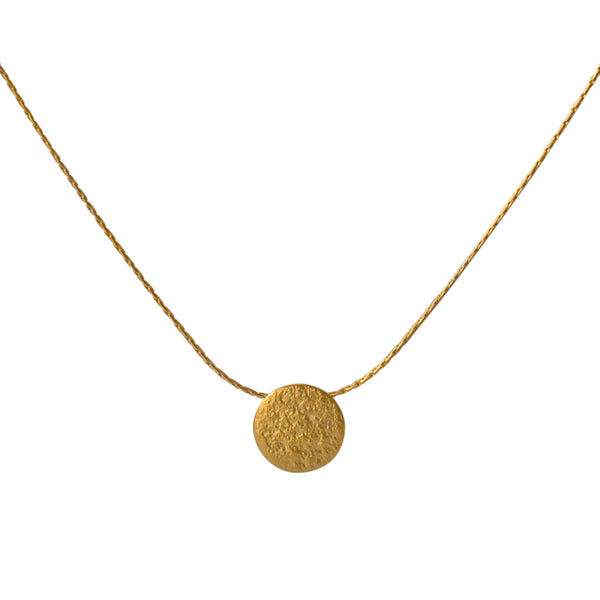 Paillette Tiny Disc Pendant in Gold