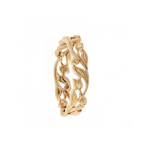 18ct Rose Gold Floral Band