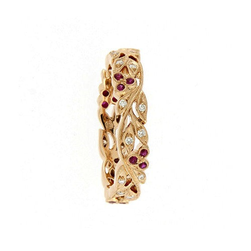 18ct Rose Gold Floral Band with Diamonds & Rubies