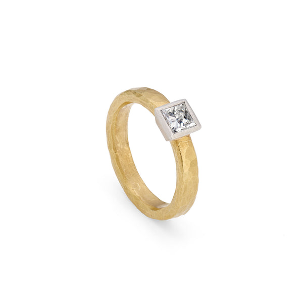 Gold & Platinum Ring with Princess Cut Diamond