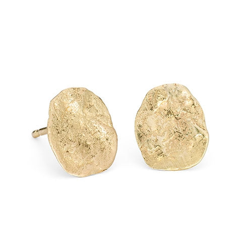 Flattened Nugget Earrings in 18ct Gold
