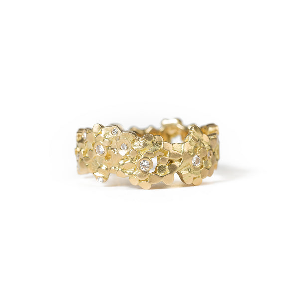 Wide Crown Ring - Yellow Gold & Diamonds