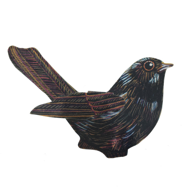 Metal Blackbird Brooch