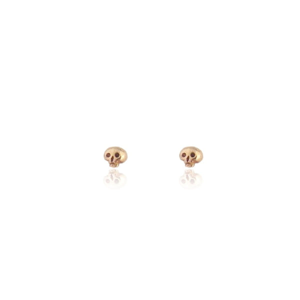 Micro Skull Gold Stud Earrings