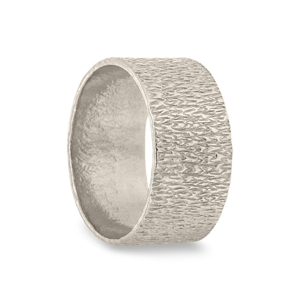 Wide Textured Silver Ring