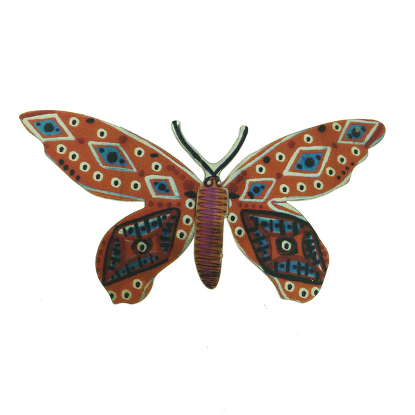 Orange, Pink & Blue Patterned Metal Butterfly Brooch