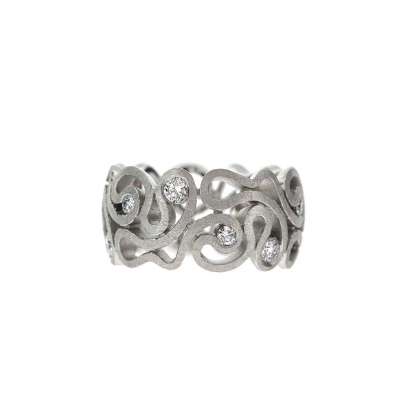 Patterned 18ct White Gold Ring