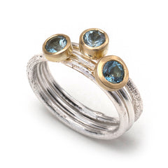 Aquamarine and Silver Ring Stack