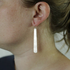 Long Silver Stripe Earrings