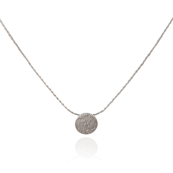 Paillette Tiny Disc Pendant in Silver