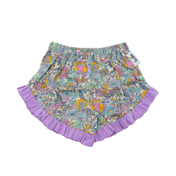 Frilled Shorts - Boho Floral Purple
