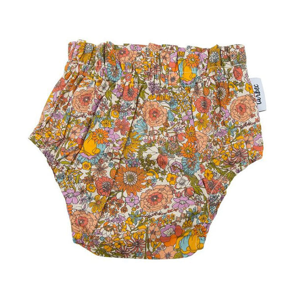 Girls Nappy Cover - Boho Floral Orange