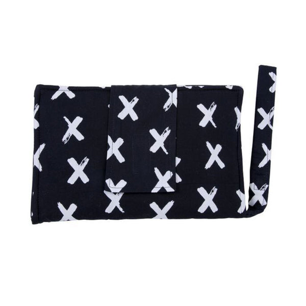 Nappy Wallet with Change Mat - Painted Crosses B&W