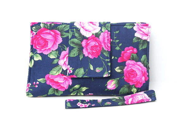Nappy Wallet with Change Mat - Navy Rose