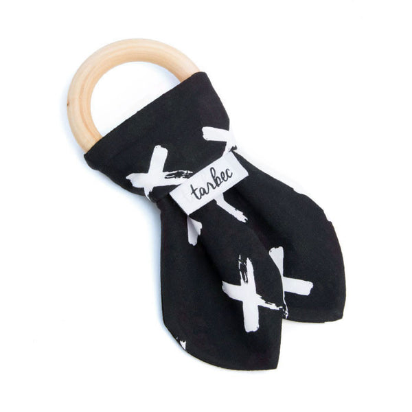 Teething Ring - Painted Crosses B&W
