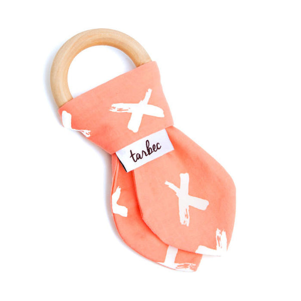 Teething Ring - Painted Crosses Peach