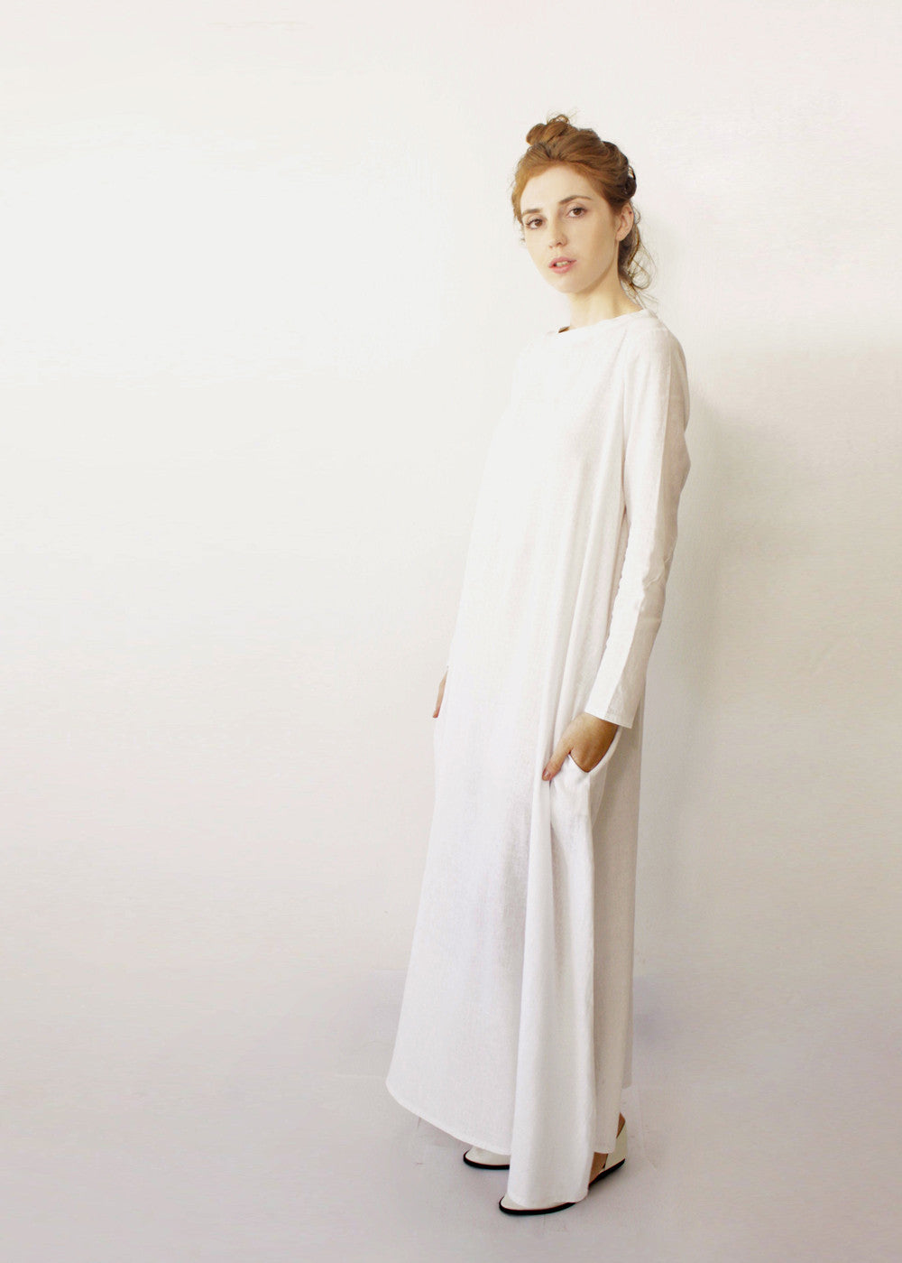 Oversize Loose maxi dress White