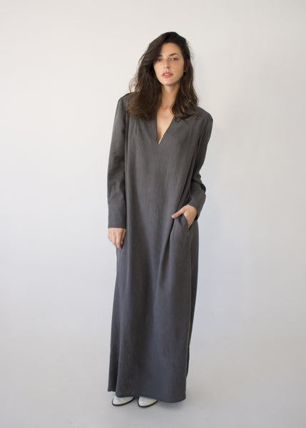 Sofia Gray Linen Dress