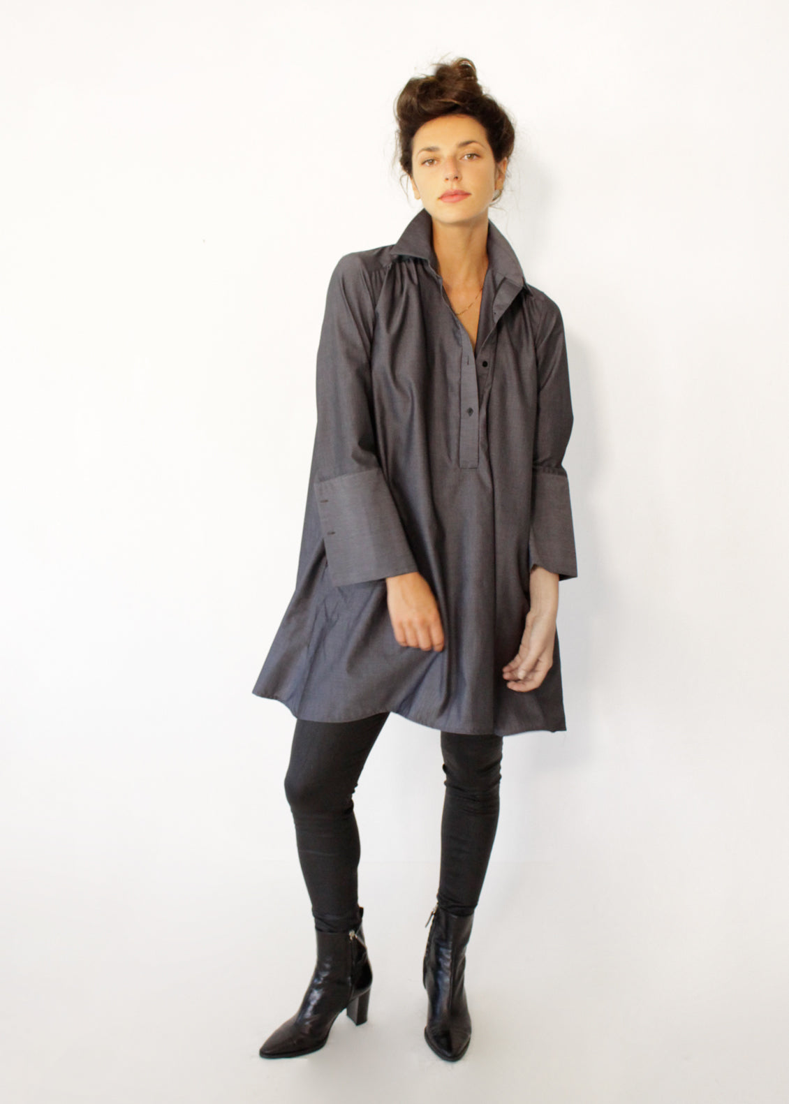 buttoned Gray tunic