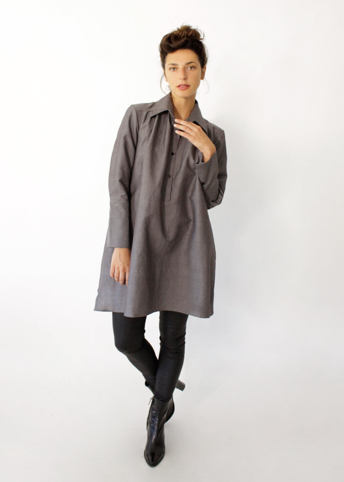 buttoned woven tunic