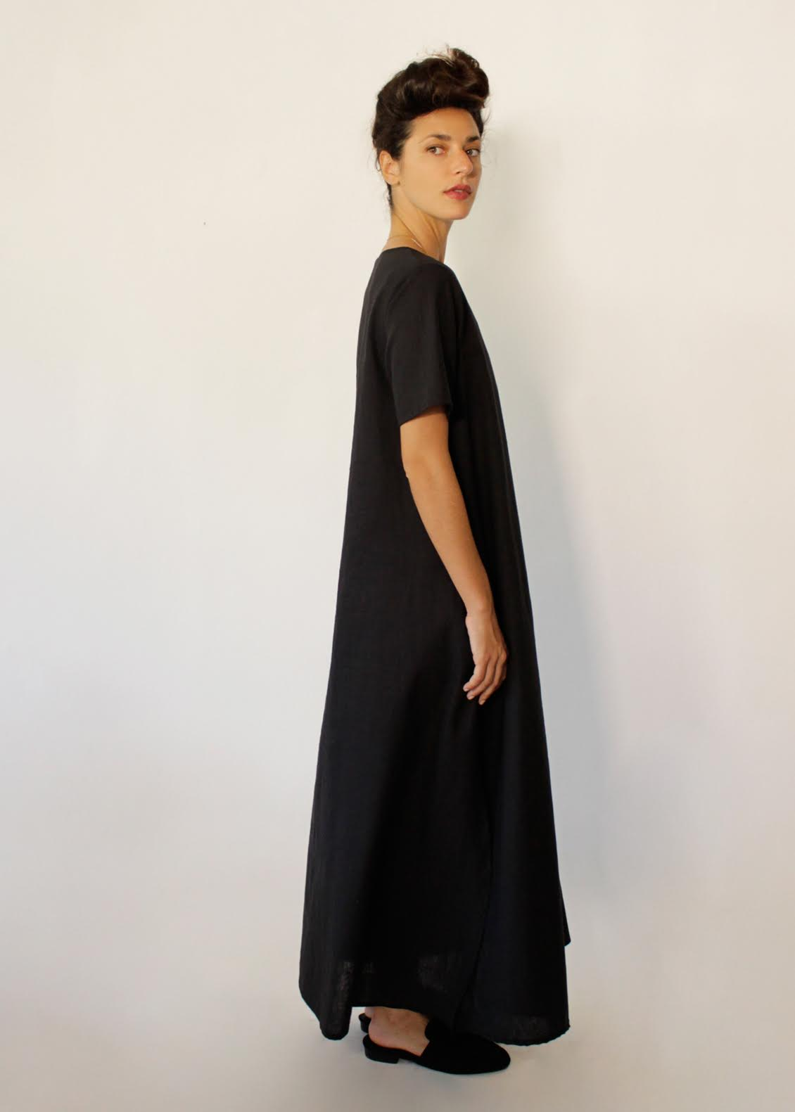 Oversize Short Sleeves Loose Maxi Dress