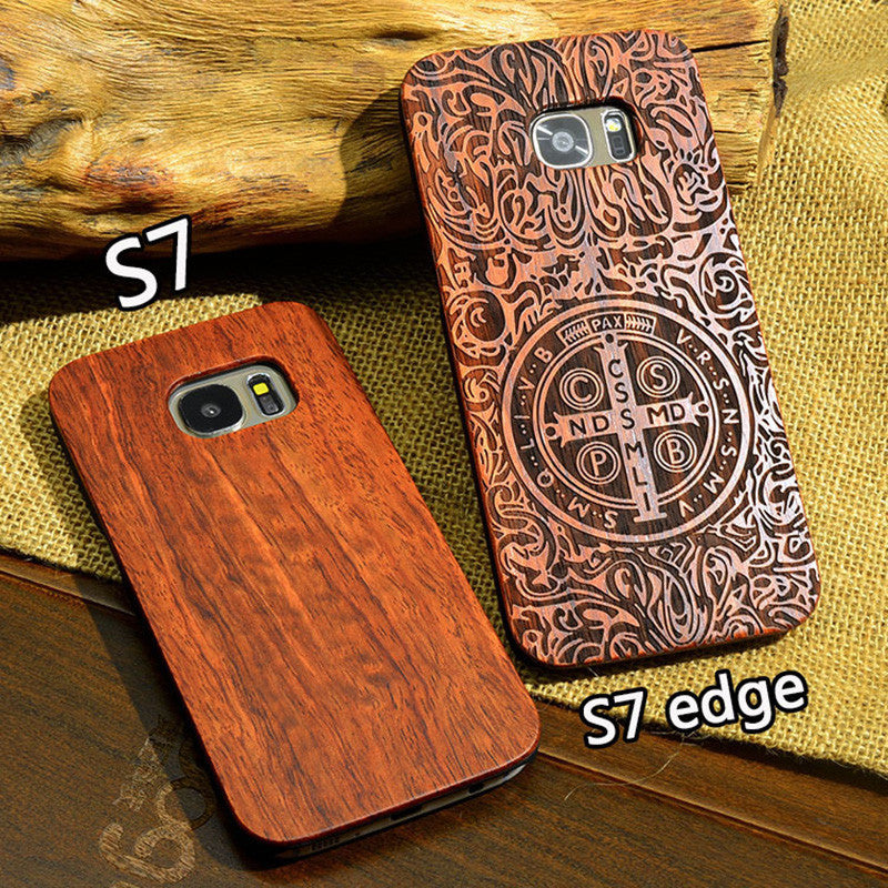 New Wooden Phone Case For Samsung Galaxy S7 Edge Natural Real Bamboo Carving