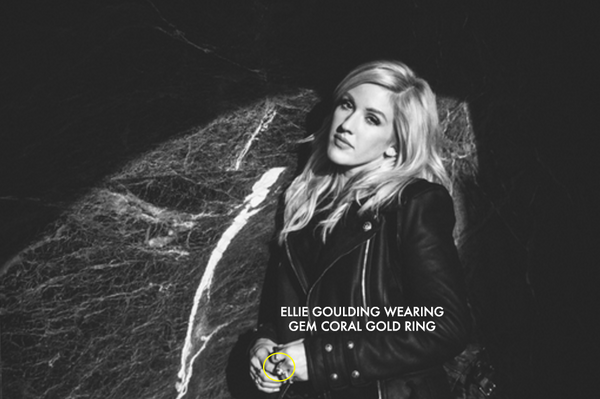 ELLIE GOULDING WEARING BESTSELLING GEM CORAL GOLD RING