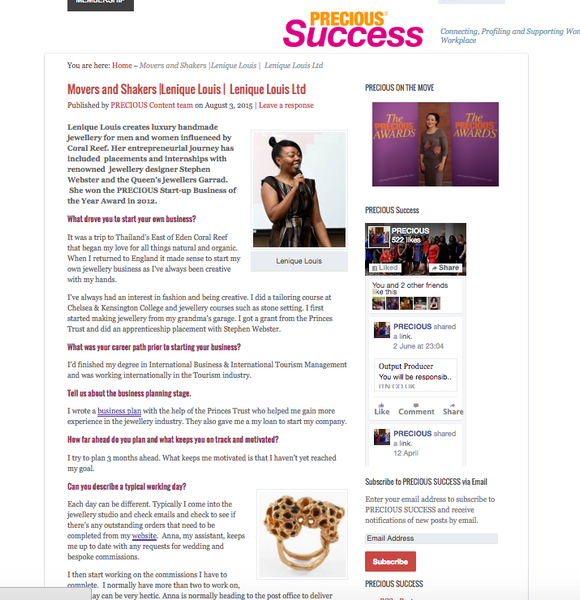 Precious Success Mover's and Shakers interviews Lenique Louis