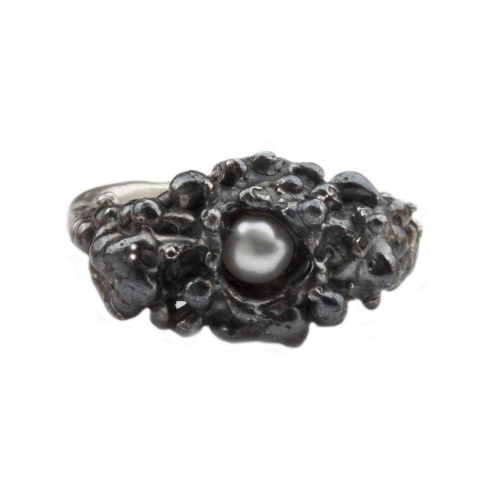 Single Pearl Spine Oxidised Silver Ring