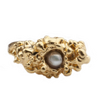 Single Pearl Spine Gold Ring - Leniquelouis-jewellery-london-based-designer-handmade-in-england-uk