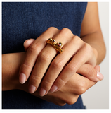 Garnet Potter Gold Ring - Leniquelouis-jewellery-london-based-designer-handmade-in-england-uk