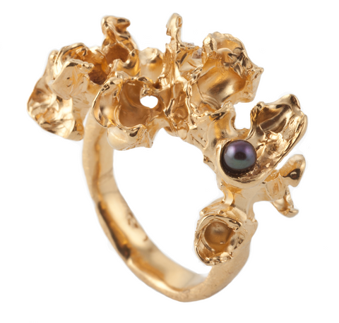 Gem Coral Gold Ring