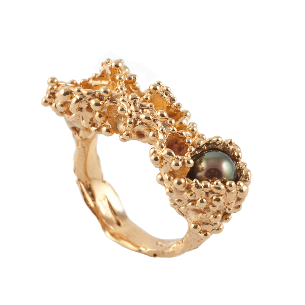 Fossil Pearl Gold Ring - Leniquelouis-jewellery-london-based-designer-handmade-in-england-uk
