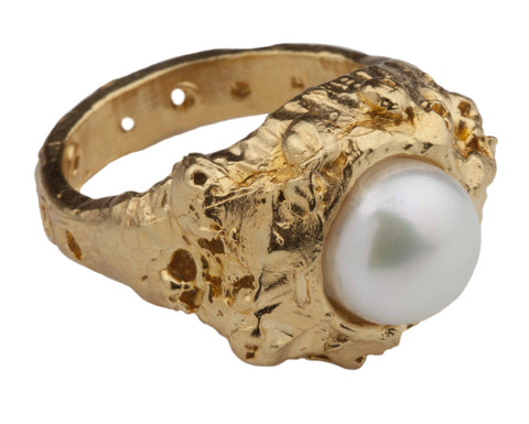 Fossil Pearl Gold Ring
