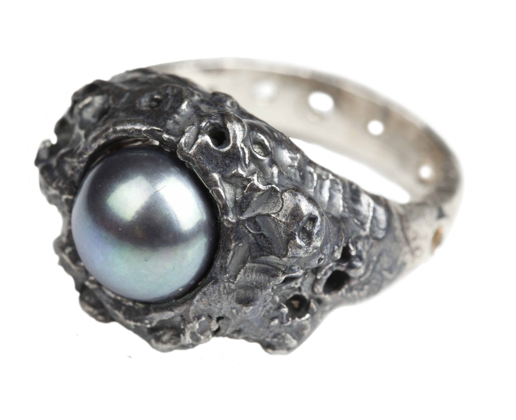 Gem Coral Oxidised Silver Ring - Leniquelouis-jewellery-london-based-designer-handmade-in-england-uk