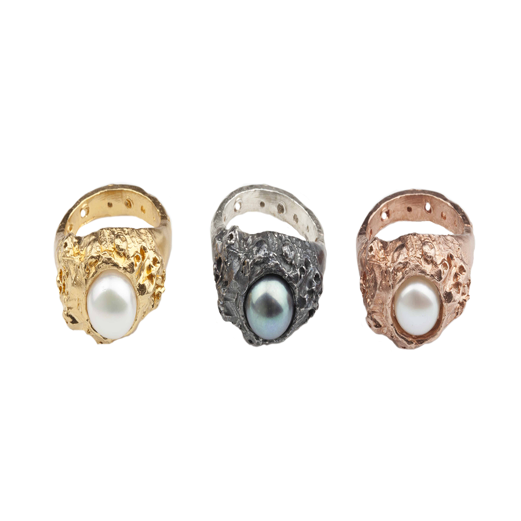 Gem Coral Rose Gold Ring - Leniquelouis-jewellery-london-based-designer-handmade-in-england-uk