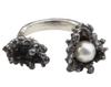 Oxidised Silver Spine Pearl Ring - Leniquelouis-jewellery-london-based-designer-handmade-in-england-uk