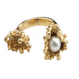 Spine Pearl Gold Ring - Leniquelouis-jewellery-london-based-designer-handmade-in-england-uk